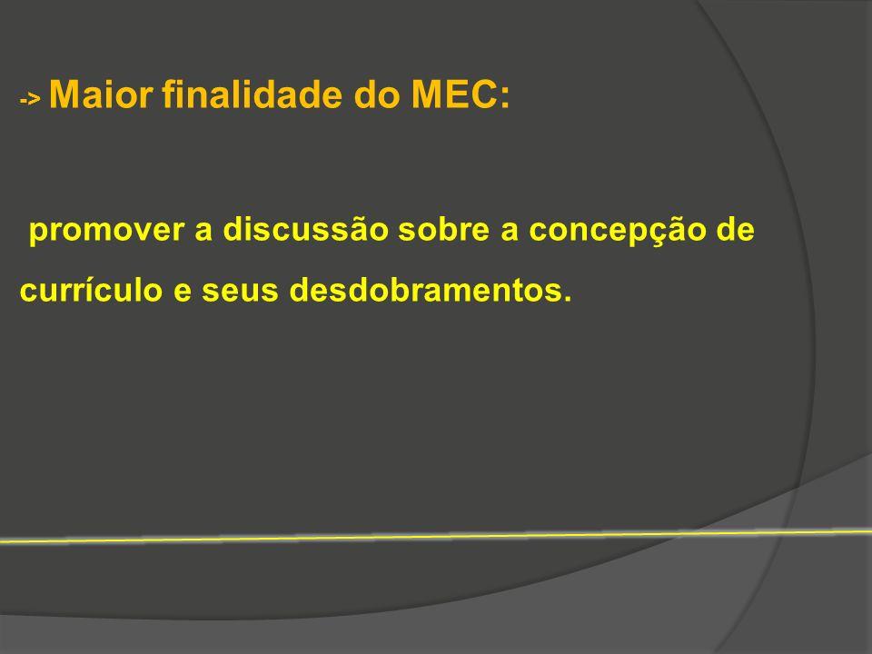 -> Maior finalidade do MEC: promover a discussão sobre a concepção de currículo e seus desdobramentos.