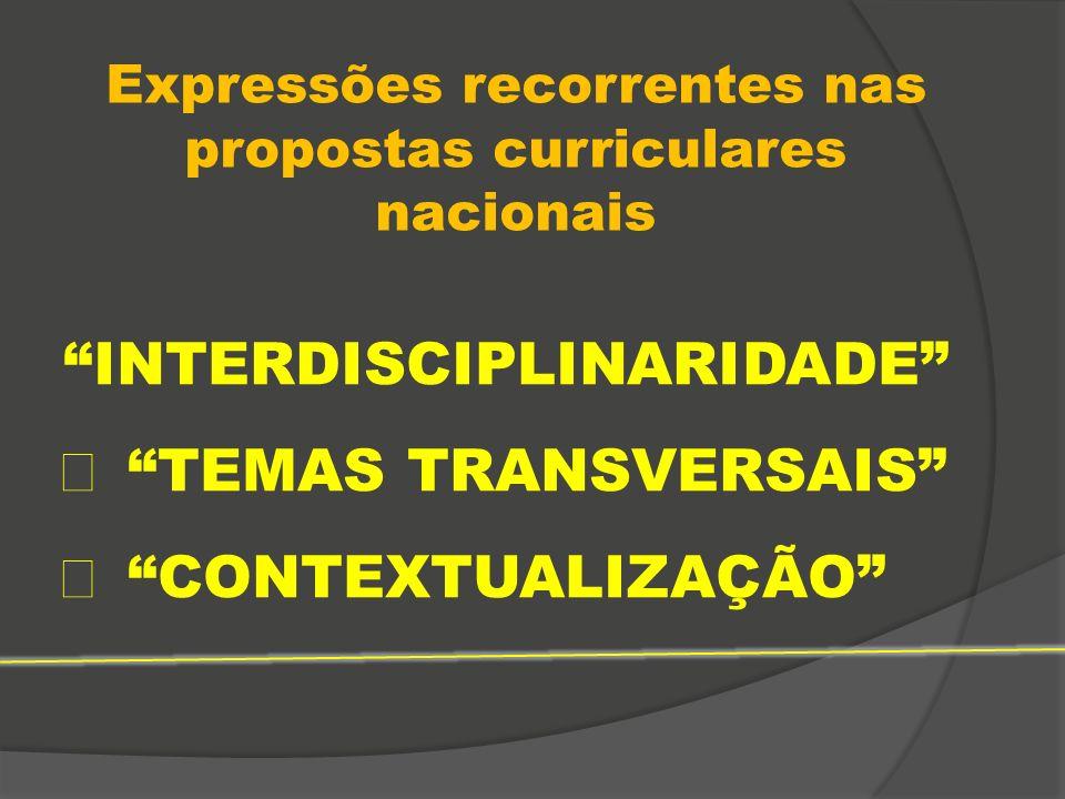 """Expressões recorrentes nas propostas curriculares nacionais """"INTERDISCIPLINARIDADE""""  """"TEMAS TRANSVERSAIS""""  """"CONTEXTUALIZAÇÃO"""""""