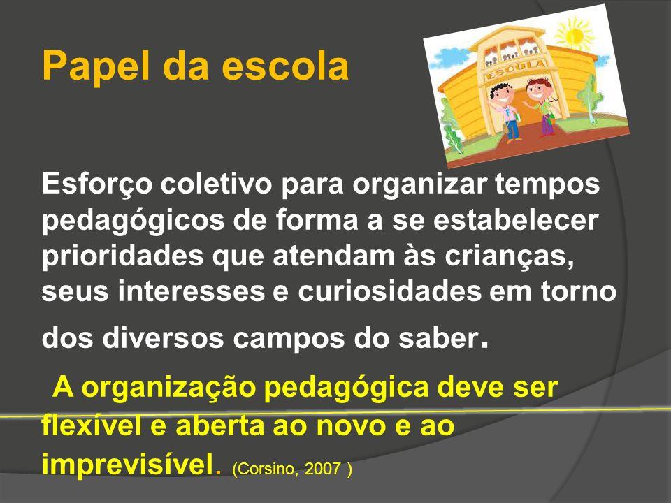 Papel da escola Esforço coletivo para organizar tempos pedagógicos de forma a se estabelecer prioridades que atendam às crianças, seus interesses e cu