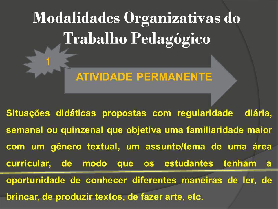 Modalidades Organizativas do Trabalho Pedagógico ATIVIDADE PERMANENTE 1 Situações didáticas propostas com regularidade diária, semanal ou quinzenal qu