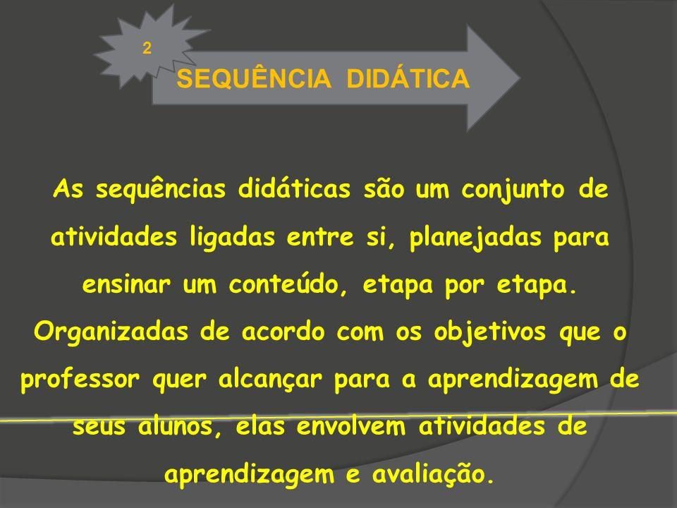 SEQUÊNCIA DIDÁTICA 2 As sequências didáticas são um conjunto de atividades ligadas entre si, planejadas para ensinar um conteúdo, etapa por etapa. Org