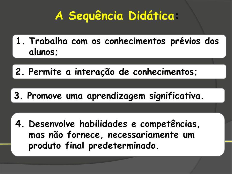 A Sequência Didática: 1.Trabalha com os conhecimentos prévios dos alunos; 2. Permite a interação de conhecimentos; 3. Promove uma aprendizagem signifi