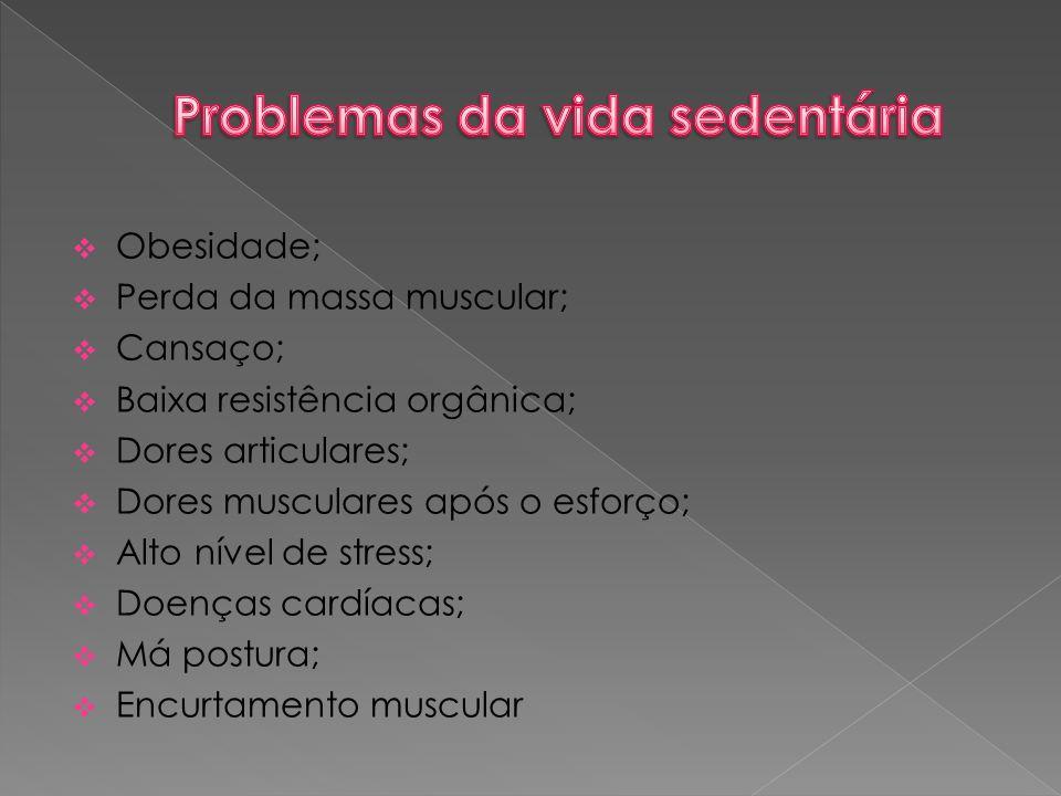  Obesidade;  Perda da massa muscular;  Cansaço;  Baixa resistência orgânica;  Dores articulares;  Dores musculares após o esforço;  Alto nível de stress;  Doenças cardíacas;  Má postura;  Encurtamento muscular