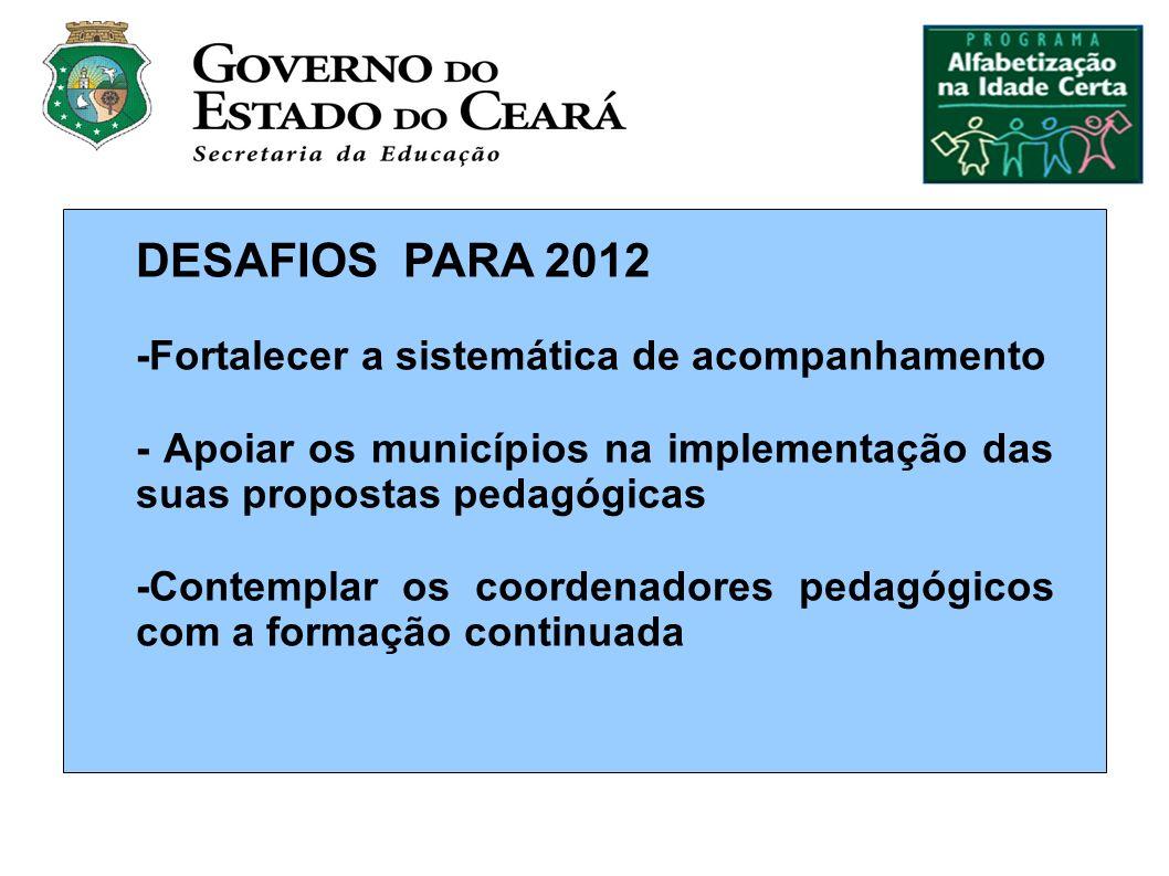 DESAFIOS PARA 2012 -Fortalecer a sistemática de acompanhamento - Apoiar os municípios na implementação das suas propostas pedagógicas -Contemplar os coordenadores pedagógicos com a formação continuada