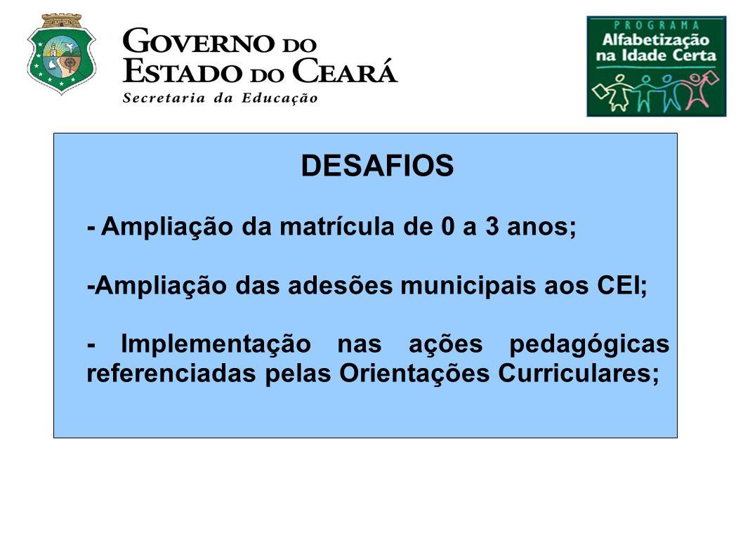 DESAFIOS - Ampliação da matrícula de 0 a 3 anos; -Ampliação das adesões municipais aos CEI; - Implementação nas ações pedagógicas referenciadas pelas Orientações Curriculares;