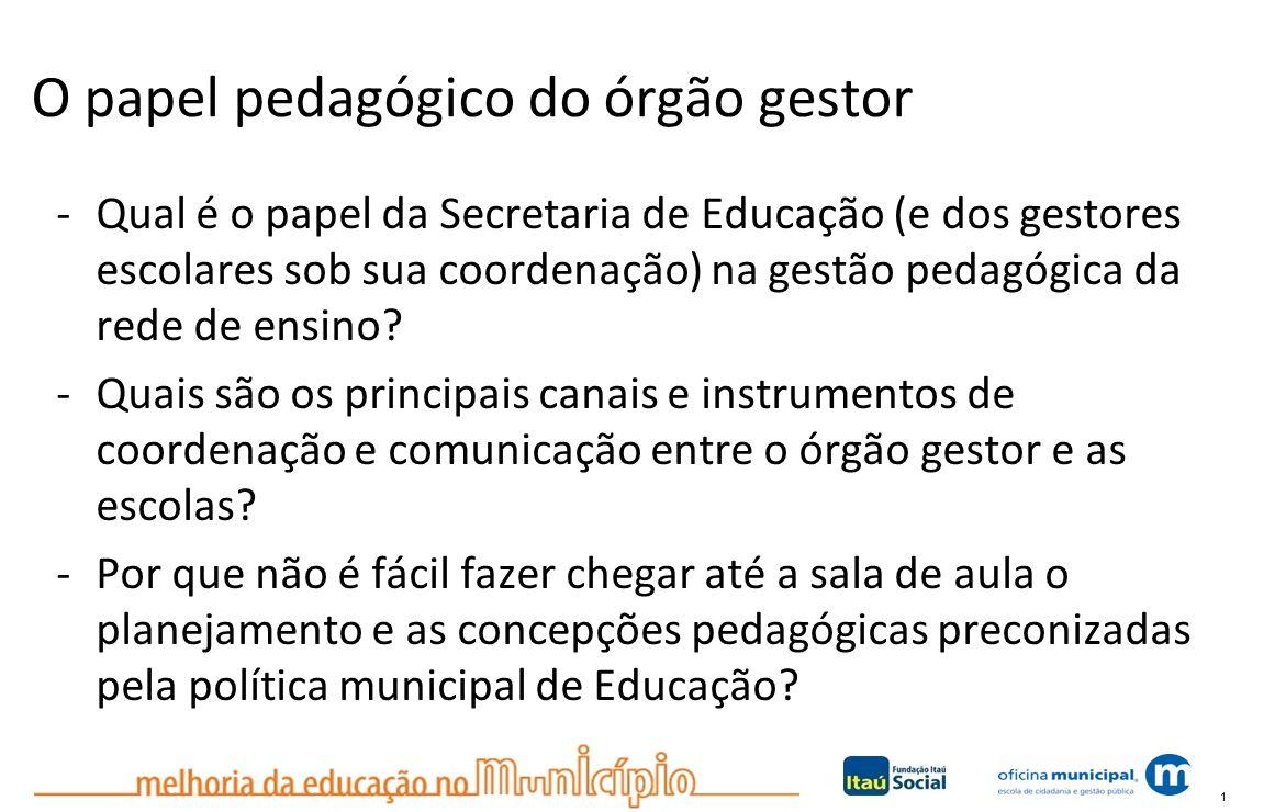 1 O papel pedagógico do órgão gestor -Qual é o papel da Secretaria de Educação (e dos gestores escolares sob sua coordenação) na gestão pedagógica da rede de ensino.