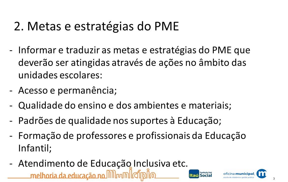 3 2. Metas e estratégias do PME -Informar e traduzir as metas e estratégias do PME que deverão ser atingidas através de ações no âmbito das unidades e