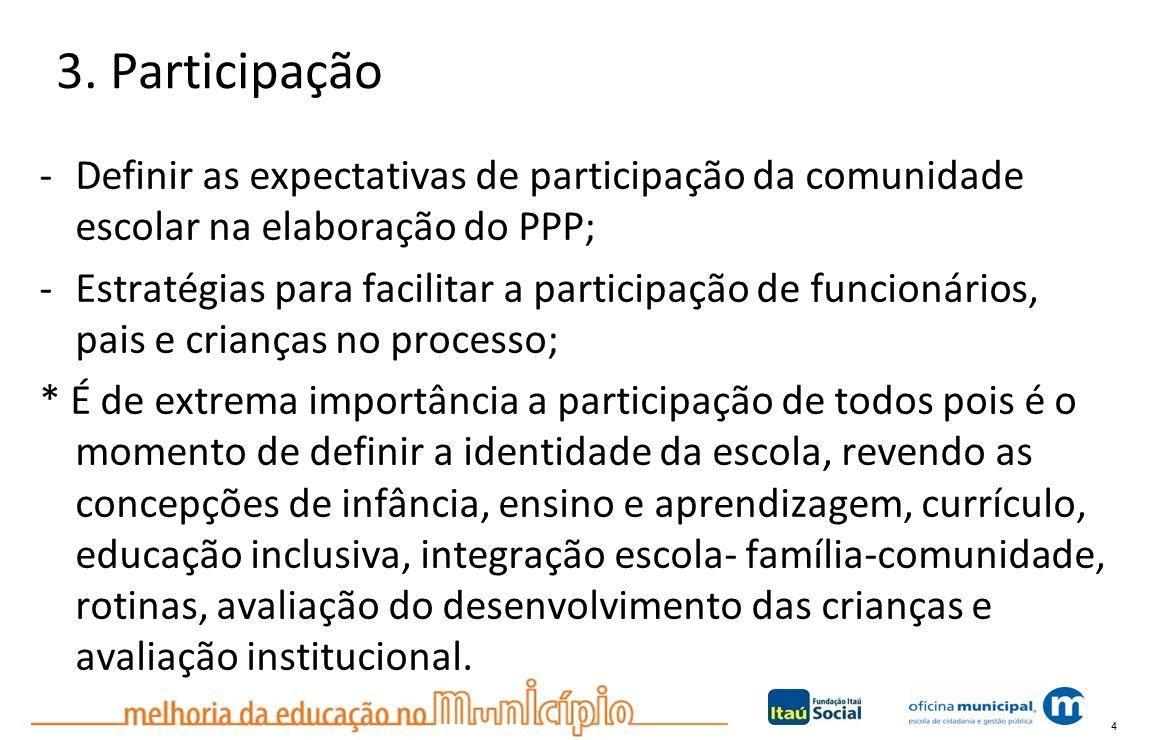 4 3. Participação -Definir as expectativas de participação da comunidade escolar na elaboração do PPP; -Estratégias para facilitar a participação de f