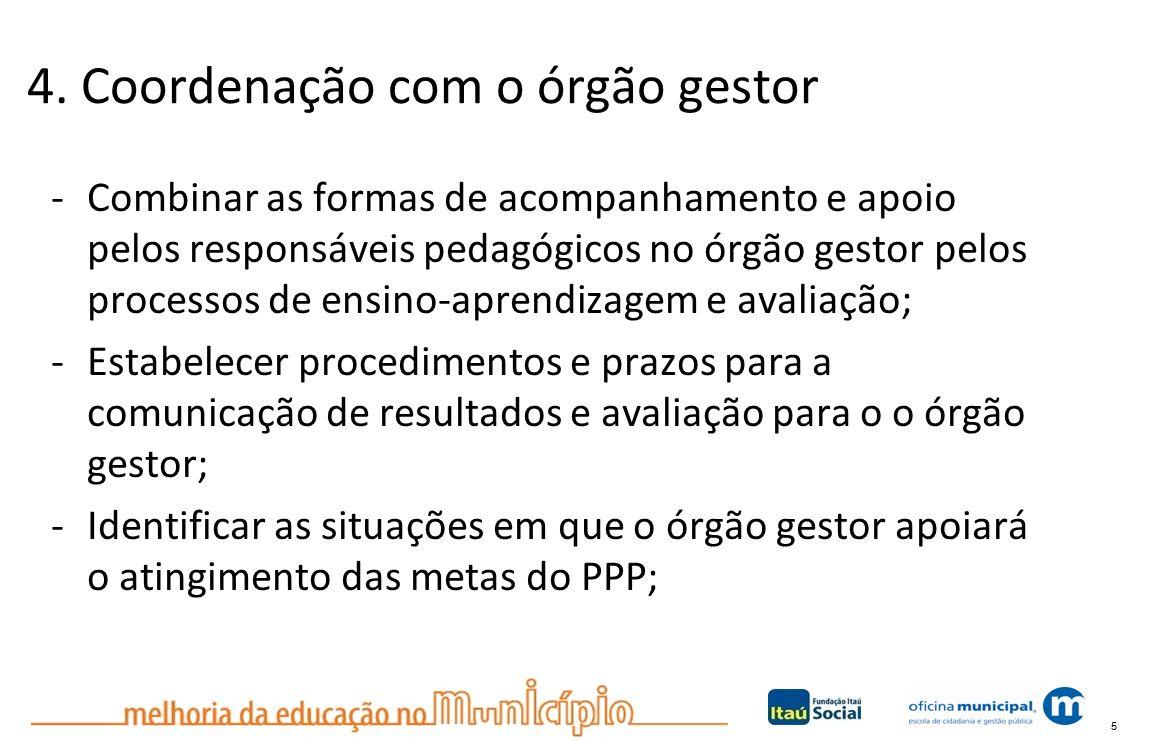 5 4. Coordenação com o órgão gestor -Combinar as formas de acompanhamento e apoio pelos responsáveis pedagógicos no órgão gestor pelos processos de en