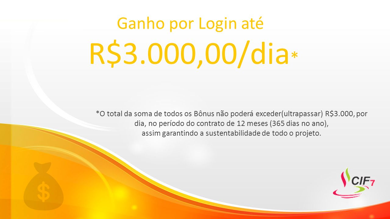 Ganho por Login até R$3.000,00/dia * *O total da soma de todos os Bônus não poderá exceder(ultrapassar) R$3.000, por dia, no período do contrato de 12 meses (365 dias no ano), assim garantindo a sustentabilidade de todo o projeto.