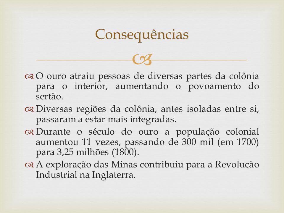   O ouro atraiu pessoas de diversas partes da colônia para o interior, aumentando o povoamento do sertão.