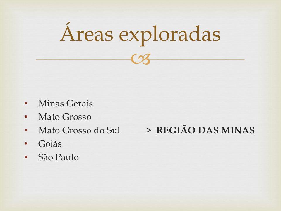  Minas Gerais Mato Grosso Mato Grosso do Sul > REGIÃO DAS MINAS Goiás São Paulo Áreas exploradas