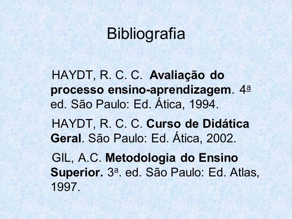 HAYDT, R. C. C. Avaliação do processo ensino-aprendizagem. 4 a ed. São Paulo: Ed. Ática, 1994. HAYDT, R. C. C. Curso de Didática Geral. São Paulo: Ed.