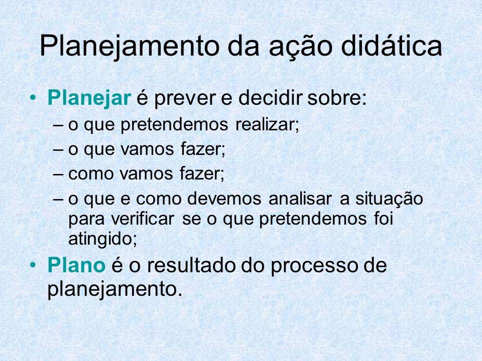 Planejamento da ação didática Planejar é prever e decidir sobre: –o que pretendemos realizar; –o que vamos fazer; –como vamos fazer; –o que e como dev