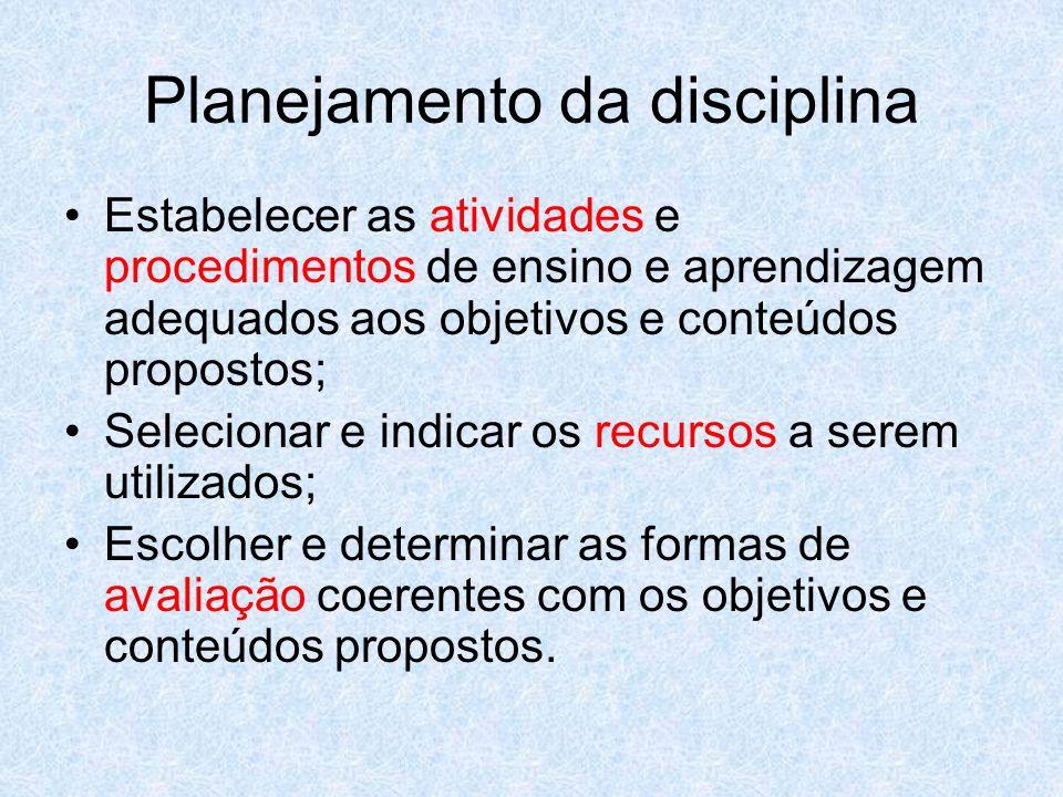 Planejamento da disciplina Estabelecer as atividades e procedimentos de ensino e aprendizagem adequados aos objetivos e conteúdos propostos; Seleciona
