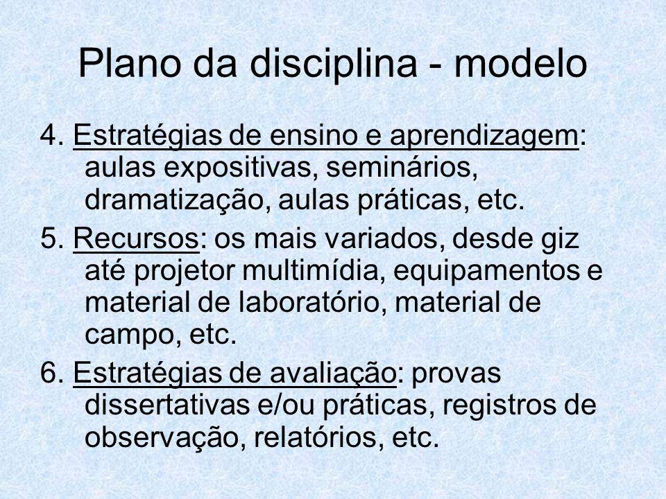 Plano da disciplina - modelo 4. Estratégias de ensino e aprendizagem: aulas expositivas, seminários, dramatização, aulas práticas, etc. 5. Recursos: o