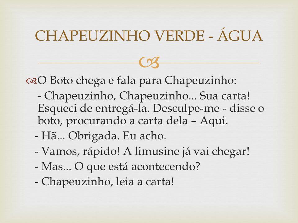   O Boto chega e fala para Chapeuzinho: - Chapeuzinho, Chapeuzinho...
