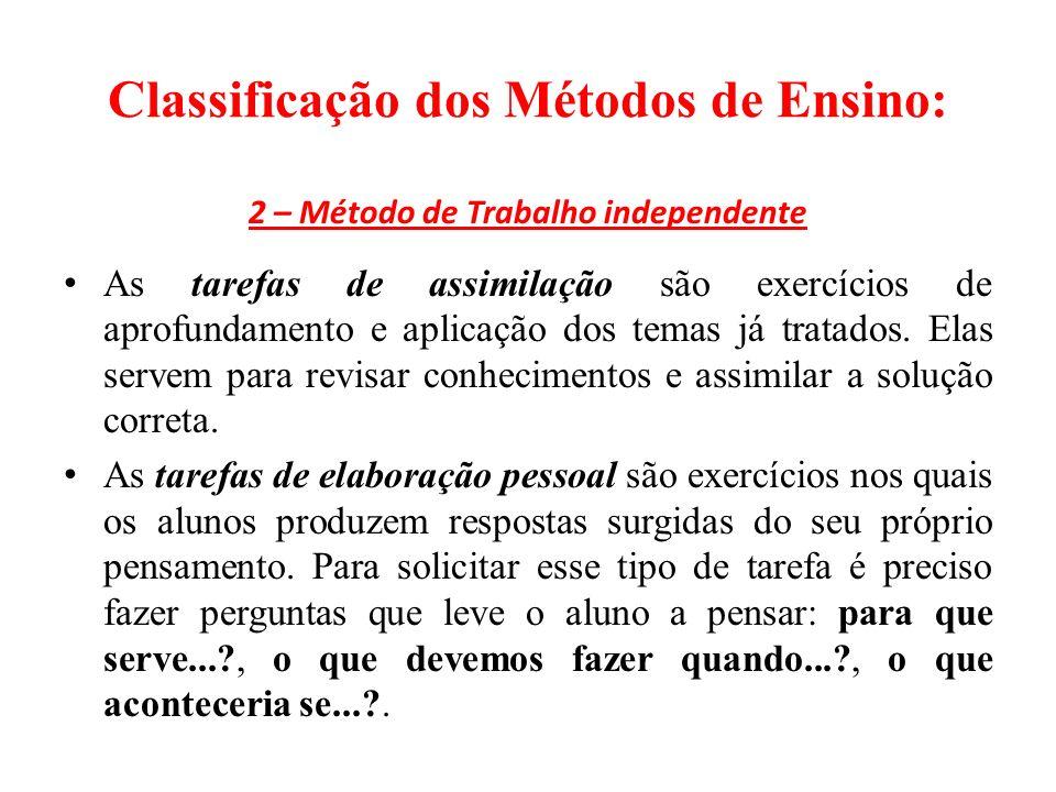 Classificação dos Métodos de Ensino: 2 – Método de Trabalho independente As tarefas de assimilação são exercícios de aprofundamento e aplicação dos temas já tratados.