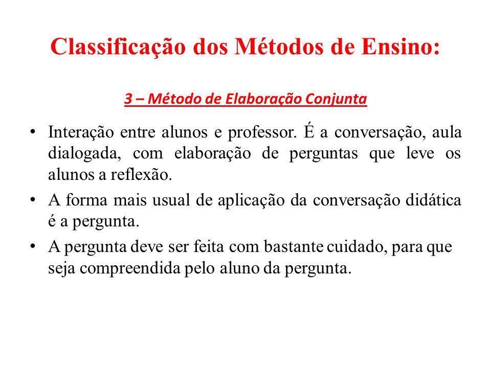 Classificação dos Métodos de Ensino: 3 – Método de Elaboração Conjunta Interação entre alunos e professor.