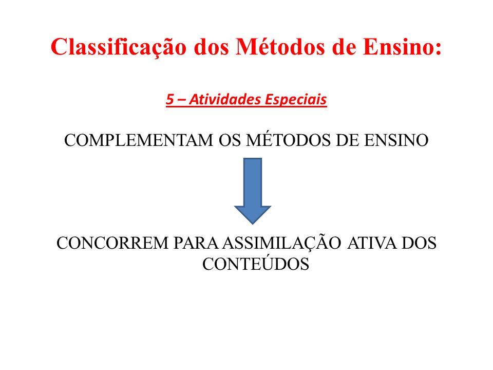Classificação dos Métodos de Ensino: 5 – Atividades Especiais COMPLEMENTAM OS MÉTODOS DE ENSINO CONCORREM PARA ASSIMILAÇÃO ATIVA DOS CONTEÚDOS