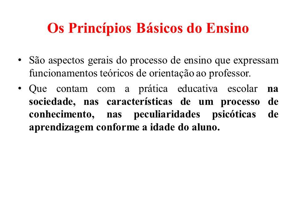 Os Princípios Básicos do Ensino São aspectos gerais do processo de ensino que expressam funcionamentos teóricos de orientação ao professor.