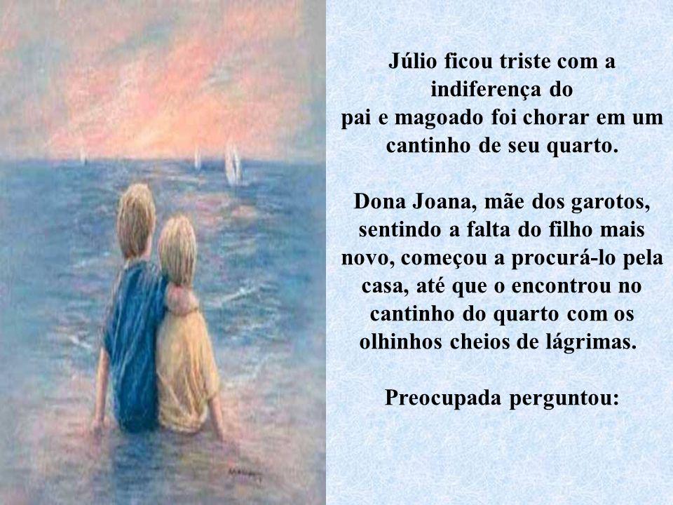 Ao entrar, João olhou para seu filho Júlio, que sorriu para o pai e disse: - Olá papai, eu te amo muito e não quero nunca me separar do senhor! João m