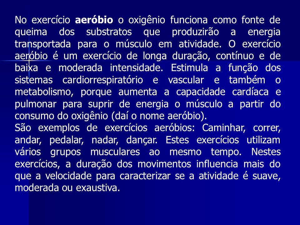 No exercício aeróbio o oxigênio funciona como fonte de queima dos substratos que produzirão a energia transportada para o músculo em atividade.