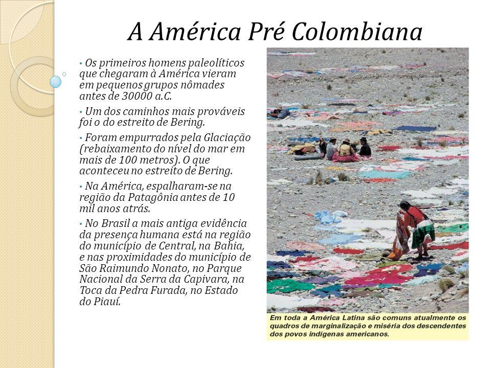 A América Pré Colombiana Os primeiros homens paleolíticos que chegaram à América vieram em pequenos grupos nômades antes de 30000 a.C. Um dos caminhos