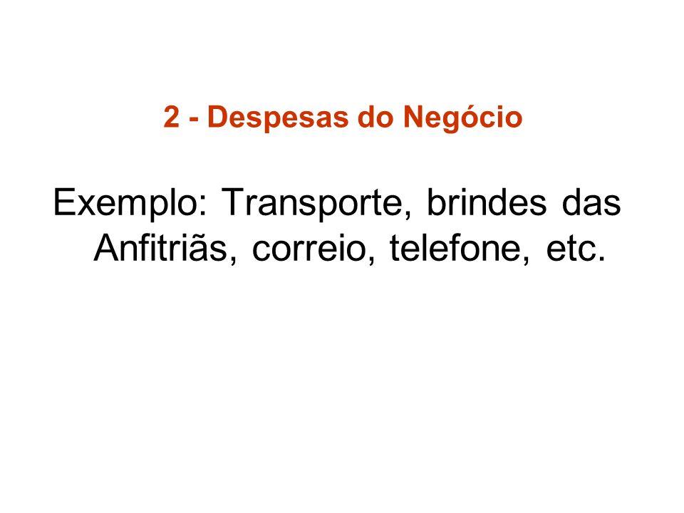2 - Despesas do Negócio Exemplo: Transporte, brindes das Anfitriãs, correio, telefone, etc.