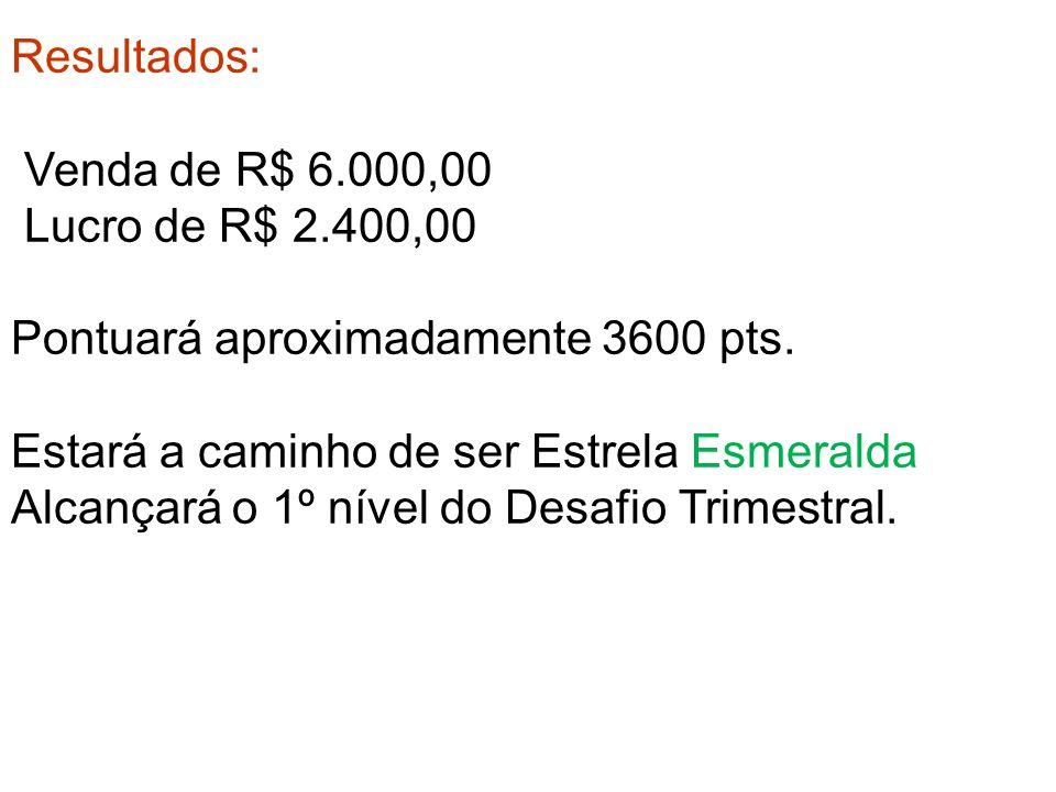 Resultados: Venda de R$ 6.000,00 Lucro de R$ 2.400,00 Pontuará aproximadamente 3600 pts.