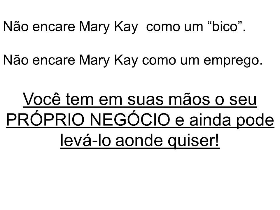 Não encare Mary Kay como um bico . Não encare Mary Kay como um emprego.