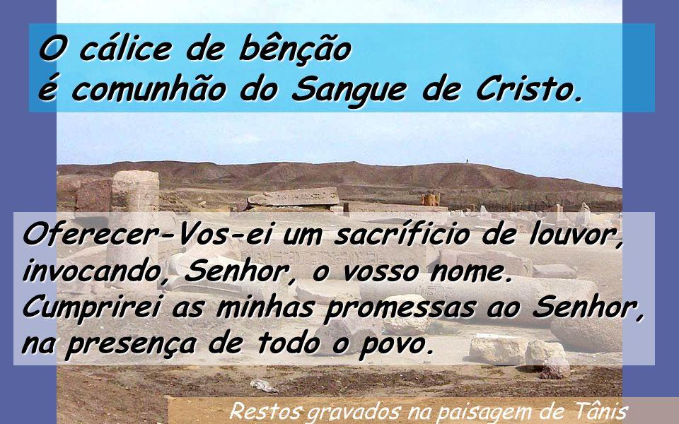 Restos gravados na paisagem de Tânis O cálice de bênção é comunhão do Sangue de Cristo.