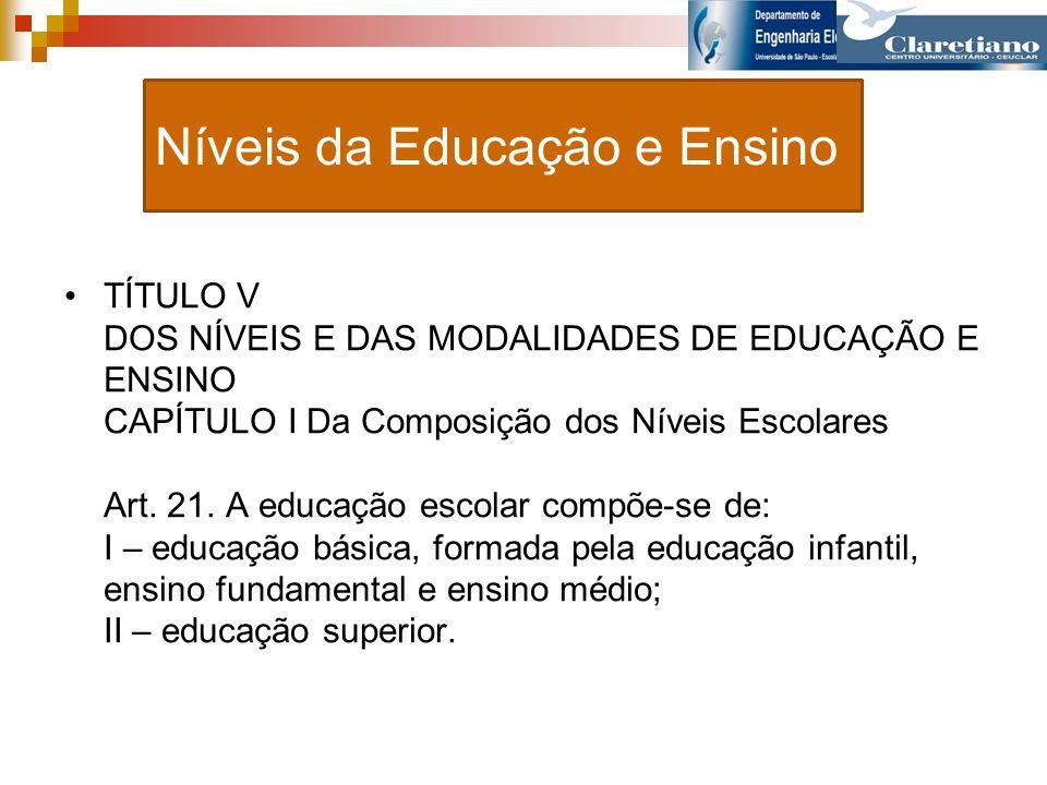 Níveis da Educação e Ensino TÍTULO V DOS NÍVEIS E DAS MODALIDADES DE EDUCAÇÃO E ENSINO CAPÍTULO I Da Composição dos Níveis Escolares Art. 21. A educaç