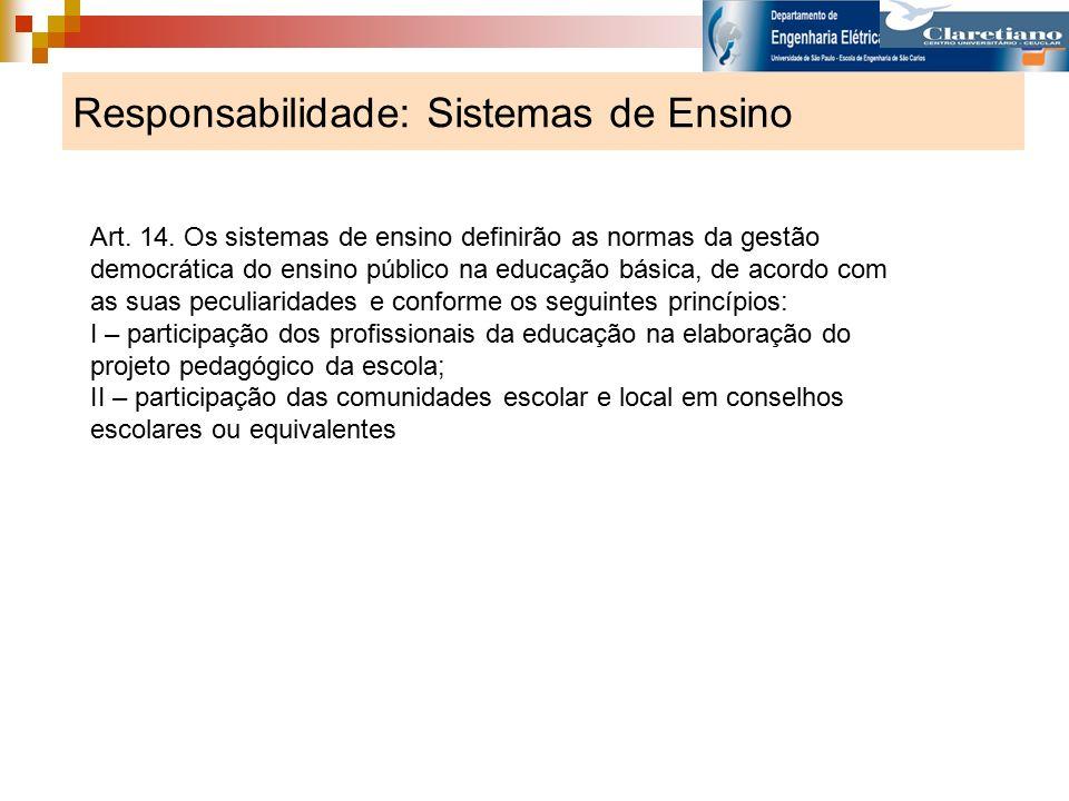 Responsabilidade: Sistemas de Ensino Art. 14. Os sistemas de ensino definirão as normas da gestão democrática do ensino público na educação básica, de