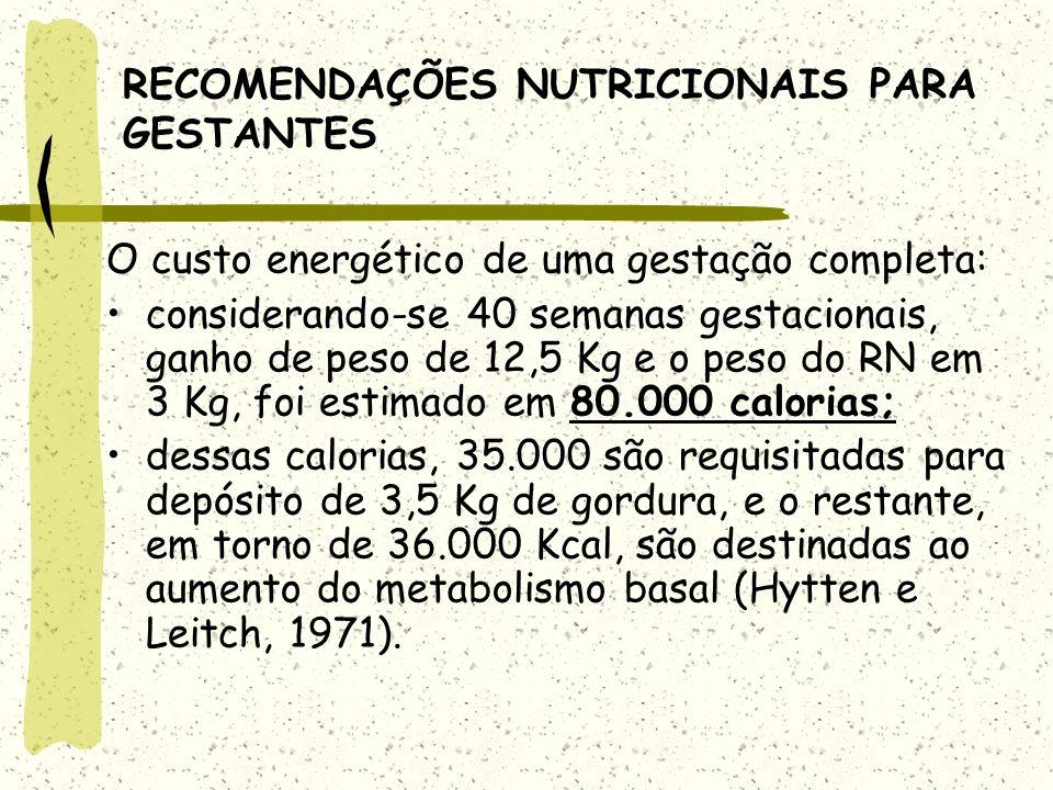 RECOMENDAÇÕES NUTRICIONAIS PARA GESTANTES O custo energético de uma gestação completa: considerando-se 40 semanas gestacionais, ganho de peso de 12,5 Kg e o peso do RN em 3 Kg, foi estimado em 80.000 calorias; dessas calorias, 35.000 são requisitadas para depósito de 3,5 Kg de gordura, e o restante, em torno de 36.000 Kcal, são destinadas ao aumento do metabolismo basal (Hytten e Leitch, 1971).