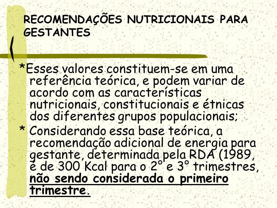 RECOMENDAÇÕES NUTRICIONAIS PARA GESTANTES *Esses valores constituem-se em uma referência teórica, e podem variar de acordo com as características nutricionais, constitucionais e étnicas dos diferentes grupos populacionais; * Considerando essa base teórica, a recomendação adicional de energia para gestante, determinada pela RDA (1989, é de 300 Kcal para o 2° e 3° trimestres, não sendo considerada o primeiro trimestre.