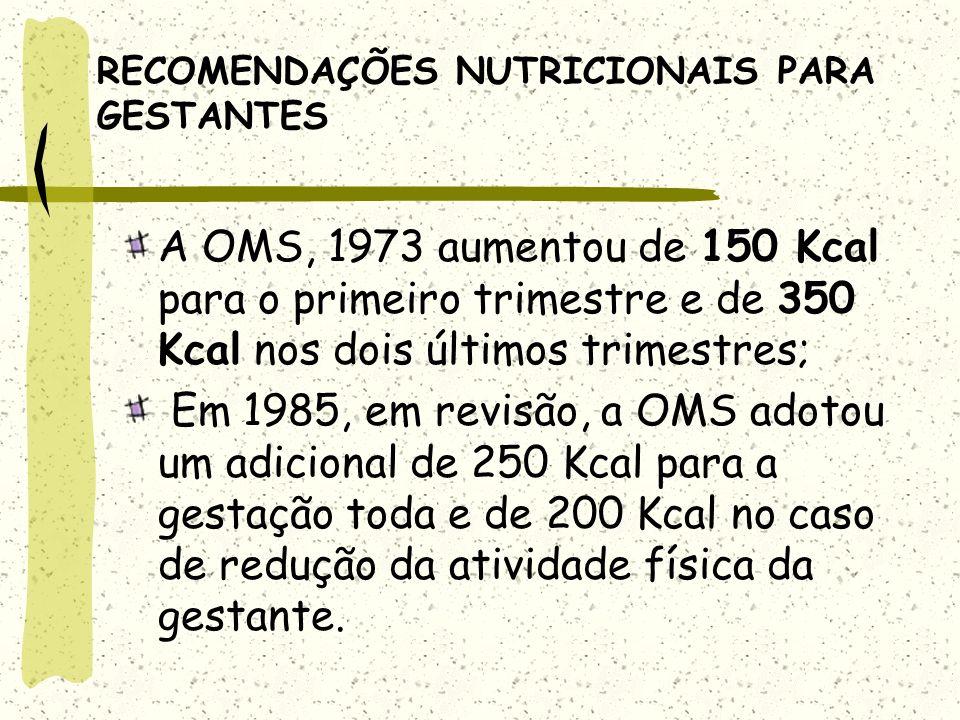RECOMENDAÇÕES NUTRICIONAIS PARA GESTANTES A OMS, 1973 aumentou de 150 Kcal para o primeiro trimestre e de 350 Kcal nos dois últimos trimestres; Em 1985, em revisão, a OMS adotou um adicional de 250 Kcal para a gestação toda e de 200 Kcal no caso de redução da atividade física da gestante.
