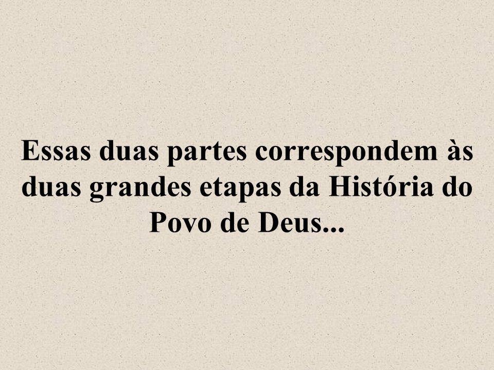 Essas duas partes correspondem às duas grandes etapas da História do Povo de Deus...