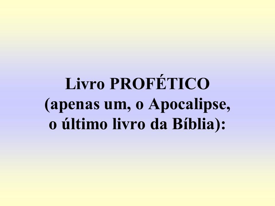 Livro PROFÉTICO (apenas um, o Apocalipse, o último livro da Bíblia):