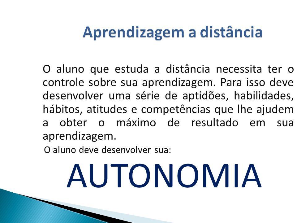 Aprendizagem a distância O aluno que estuda a distância necessita ter o controle sobre sua aprendizagem.