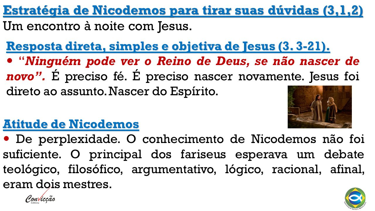 Estratégia de Nicodemos para tirar suas dúvidas (3,1,2) Um encontro à noite com Jesus.