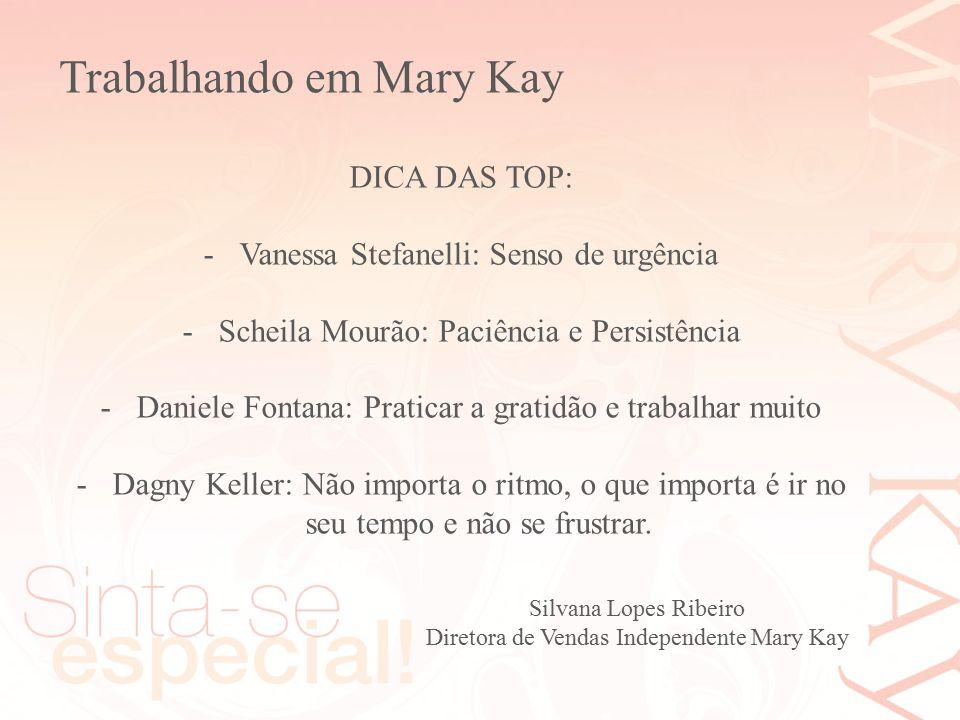 Silvana Lopes Ribeiro Diretora de Vendas Independente Mary Kay DICA DAS TOP: -Vanessa Stefanelli: Senso de urgência -Scheila Mourão: Paciência e Persi