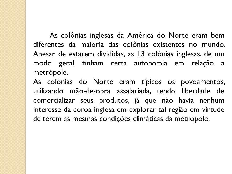 As colônias inglesas da América do Norte eram bem diferentes da maioria das colônias existentes no mundo.