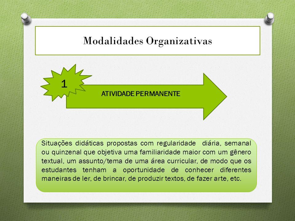 Modalidades Organizativas ATIVIDADE PERMANENTE 1 Situações didáticas propostas com regularidade diária, semanal ou quinzenal que objetiva uma familiar