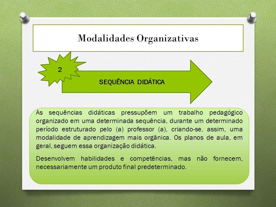 Modalidades Organizativas SEQUÊNCIA DIDÁTICA 2 As sequências didáticas pressupõem um trabalho pedagógico organizado em uma determinada sequência, dura