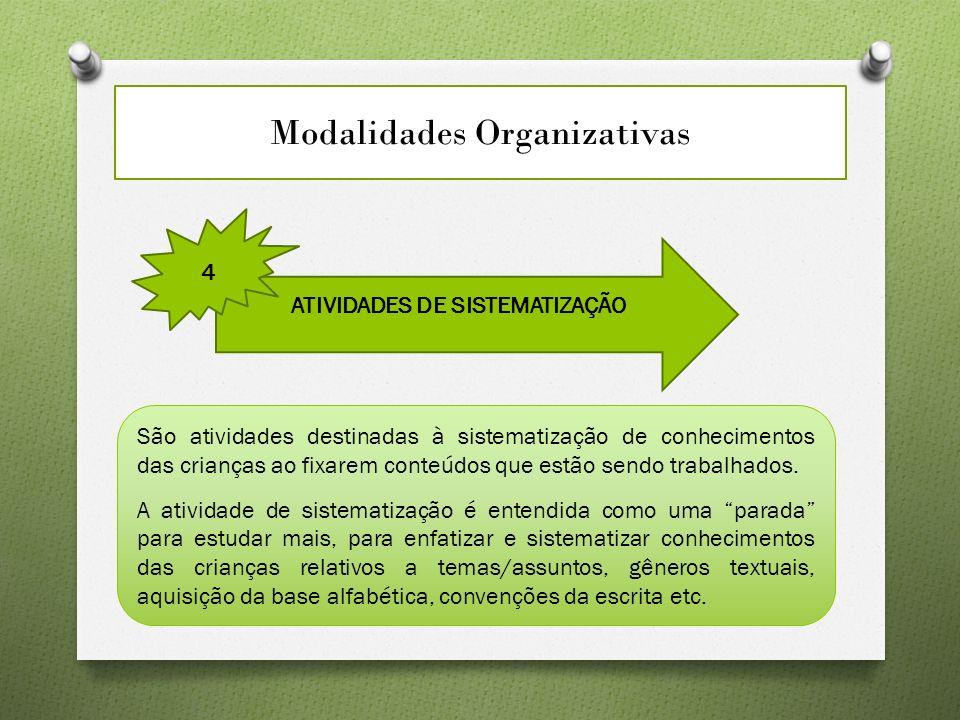 Modalidades Organizativas ATIVIDADES DE SISTEMATIZAÇÃO 4 São atividades destinadas à sistematização de conhecimentos das crianças ao fixarem conteúdos