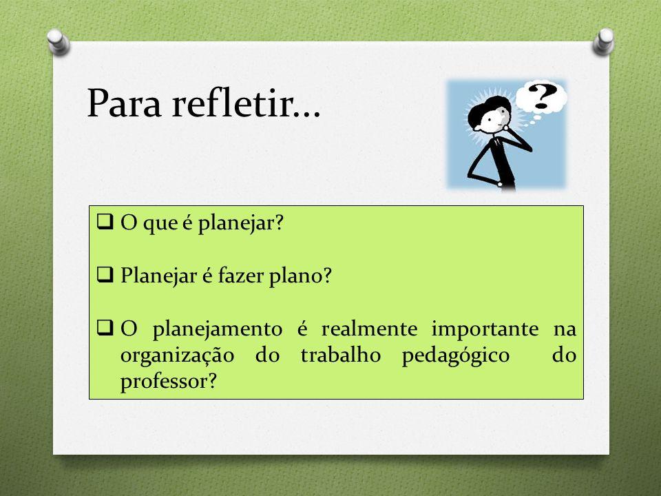 Para refletir...  O que é planejar?  Planejar é fazer plano?  O planejamento é realmente importante na organização do trabalho pedagógico do profes