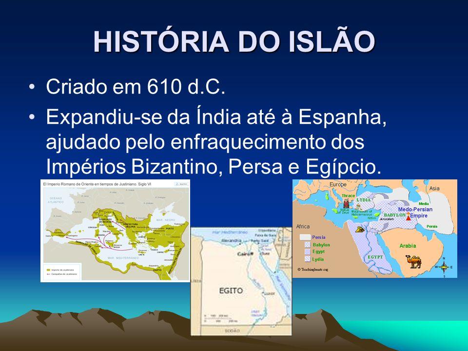 HISTÓRIA DO ISLÃO 632 – adoptam Jerusalém como cidade sagrada (ascensão de Maomé).