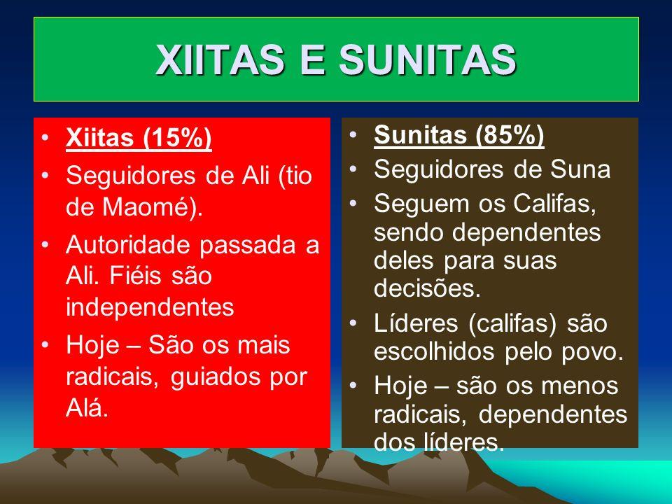 XIITAS E SUNITAS Xiitas (15%) Seguidores de Ali (tio de Maomé).