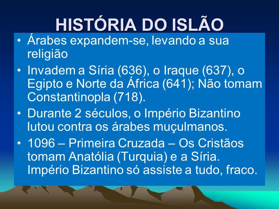 HISTÓRIA DO ISLÃO Árabes expandem-se, levando a sua religião Invadem a Síria (636), o Iraque (637), o Egipto e Norte da África (641); Não tomam Constantinopla (718).